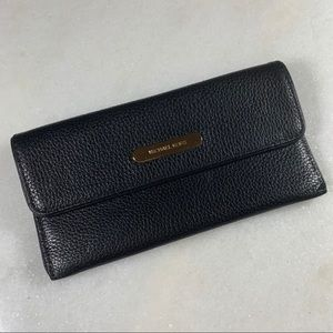 Michael Kors Flat Continental Black Leather Wallet